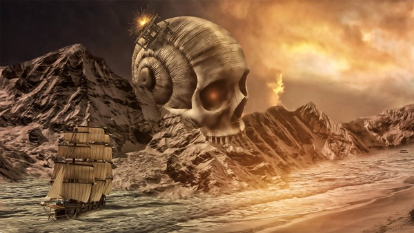 Fantasy Landscape with Ship and Skull. Photo by Dark Souls.